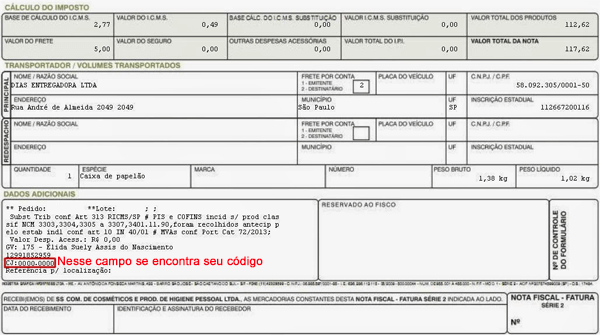 nota fiscal tupperware